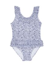 White And Blue Floral Frill Swimsuit