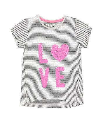 Love Sequin Stripe T-Shirt