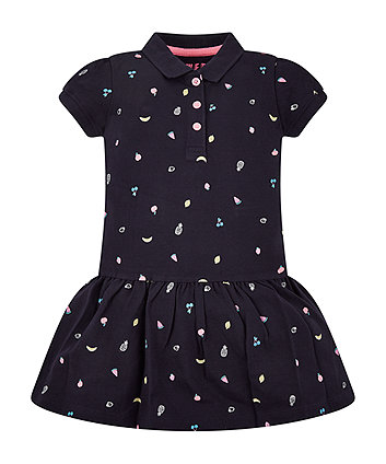 Navy Fruit Print Polo Dress
