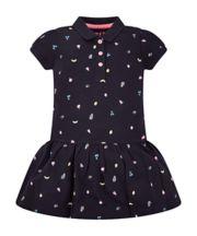 Navy Fruit Print Polo Dress