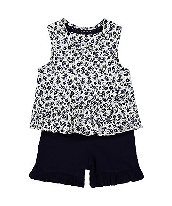 Mothercare White Floral Vest And Shorts Set