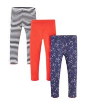 Mothercare Heart And Stripe Leggings - 3 Pack
