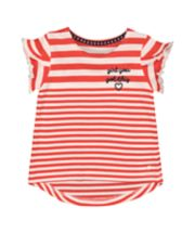 Mothercare Red Striped Frill T-Shirt