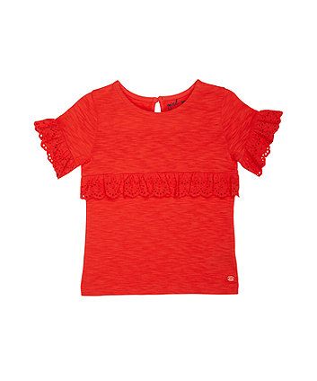 Mothercare Red Broderie Frill T-Shirt