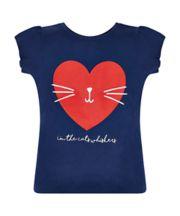 Navy Cat And Heart T-Shirt