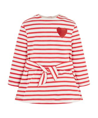 Mothercare Crem De La Crem Red Stripe And Heart Short Sleeve Dress