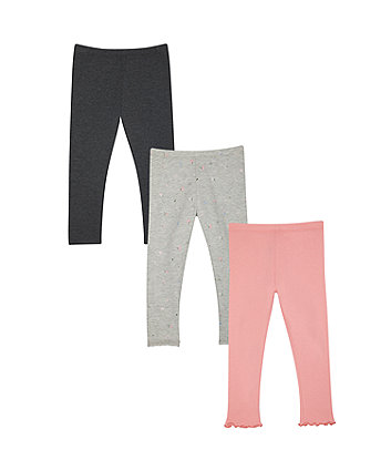 Mothercare Pink And Grey Floral Leggings - 3 Pack