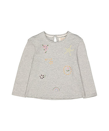 Mothercare Grey Marl Beaded T-Shirt