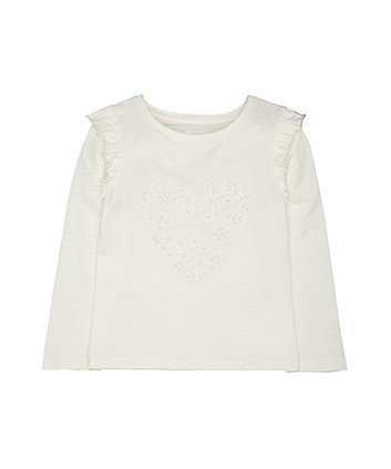 Mothercare Cream Pearl Heart T-Shirt