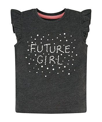 Mothercare Future Girl Grey Frill T-Shirt