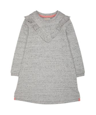 Mothercare Good Vibes Grey Marl Long Sleeve Dress With Frill