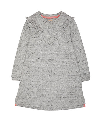 Grey Frills Sweater Dress