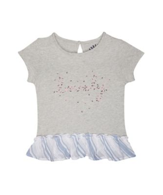 Mothercare Fantastic Trip Grey Lovely Short Sleeve T-Shirt With Stripe Frill