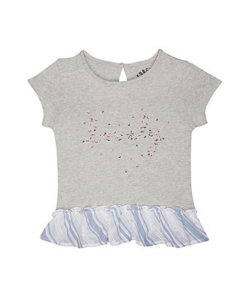 Mothercare Lovely Floral Frill Grey T-Shirt