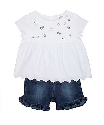 Mothercare Floral White Shirt And Frill Shorts Set