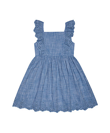 Mothercare Blue Chambray Broderie Dress