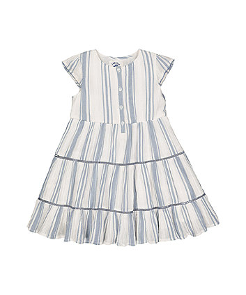 Mothercare Blue Striped Tiered Dress