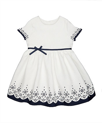 Mothercare White And Blue Floral Jacquard Dress