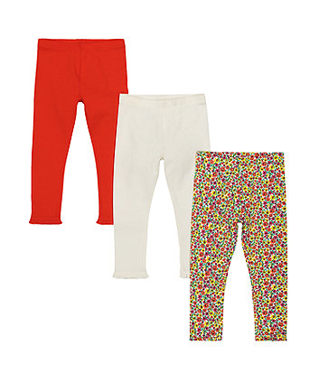 Floral, White And Coral Leggings - 3 Pack