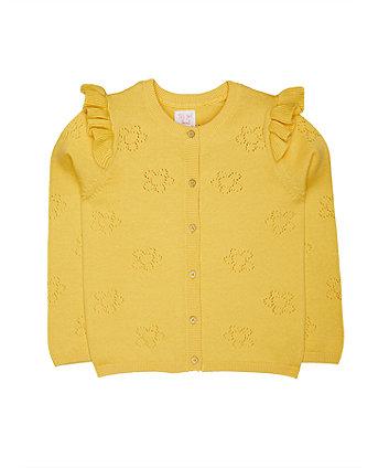 Yellow Pointelle Frill Cardigan
