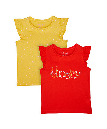 Mustard Polka Dot T-Shirts - 2 Pack