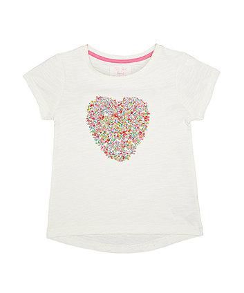 Mothercare Chiffon Heart White T-Shirt