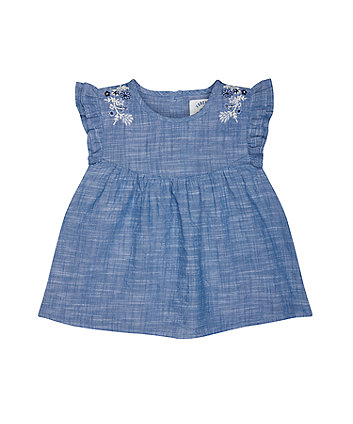 Mothercare Chambray Embroidered Blouse
