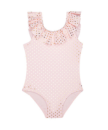 Mothercare Gold Foil Polka Dot Pink Swimsuit