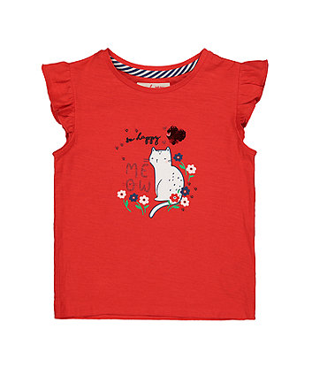 Mothercare Red Sequin So Happy Right Meow Cat T-Shirt