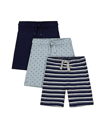 Mothercare Striped And Geometric Shorts - 3 Pack