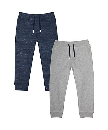 Mothercare Blue And Grey Marl Joggers - 2 Pack