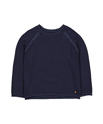 Indigo Washed Knitted Jumper