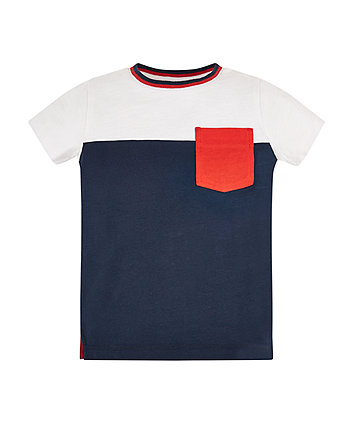 Navy Cut And Sew T-Shirt