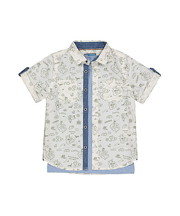 Mothercare Blue And White T-Shirt And Shirt Set