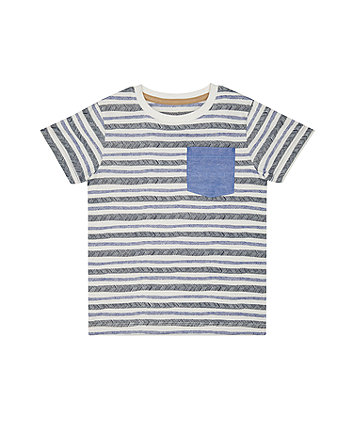 Mothercare Striped Chambray Pocket T-Shirt