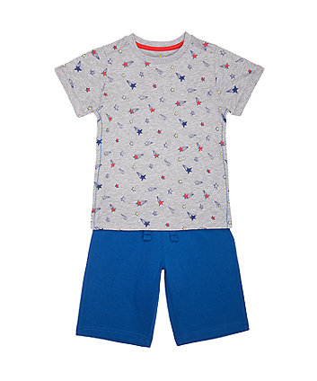 Mothercare Star T-Shirt And Blue Shorts Set