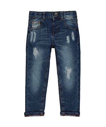 Mid-Wash Rip And Repair Jeans