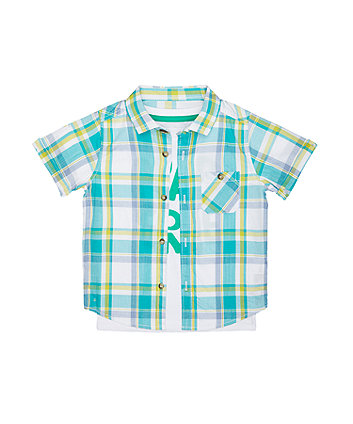 Mothercare Check Shirt And Roarsome T-Shirt Set