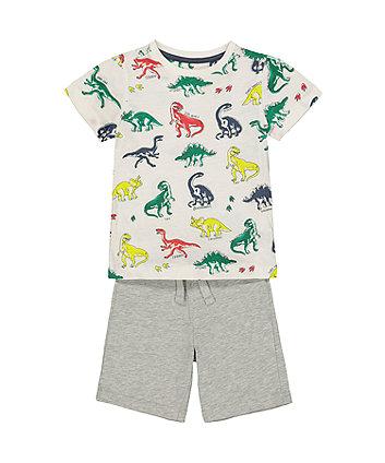 Mothercare Dinosaur T-Shirt And Grey Shorts Set