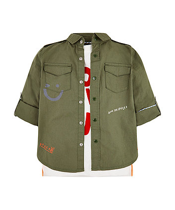 Mothercare Khaki Shirt And T-Shirt Set