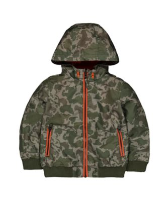 Mothercare Camouflage Jersey-Lined Hooded Bomber Jacket