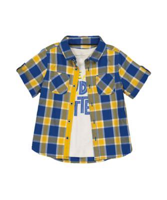 Mothercare Universal Navy Yellow And Blue Check Shirt And T-Shirt Set