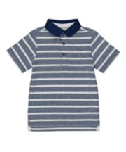 Mothercare Blue And White Stripe Polo Shirt