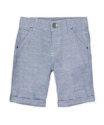 Mothercare Blue Texture Stripe Shorts