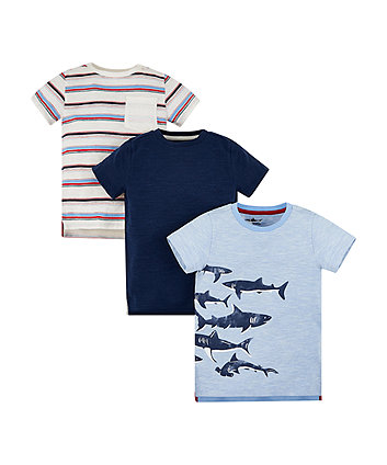 Mothercare Shark, Stripe And Navy T-Shirts - 3 Pack