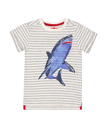 Mothercare Stripe Shark T-Shirt