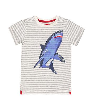 Mothercare Stripe Shark T-Shirt