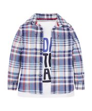Mothercare Check Shirt And White Today T-Shirt Set