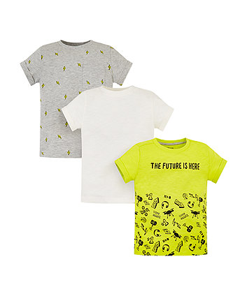 Mothercare Gamer, Thunderbolt And White T-Shirts - 3 Pack
