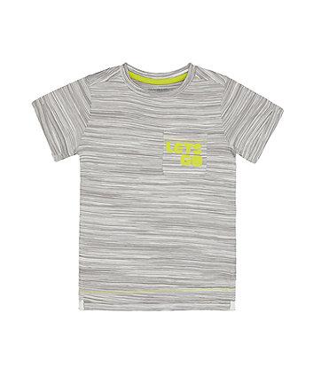Mothercare Grey Stripe Lets Go T-Shirt